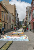 Street of La laguna with flower carpets Royalty Free Stock Photography