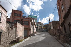 Street of La Paz city on the mountain slope, Bolivia Stock Photos