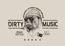 Street label for t-shirt design with gorilla Stock Photo