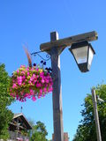 Street lamp. With pink flowers basket Royalty Free Stock Image