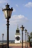 Street lamp. Old street lamp and clock Stock Photos