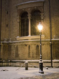 Street lamp. A street lamp corner under the snow.Parma,Italy stock photography