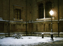 Street lamp 2. A street lamp corner under the snow.Parma,Italy royalty free stock photo