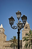 Street lamp. In front of the cathedral of cefal Stock Image