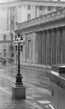 Street Lamp. Greyscale photo of a single street lamp in the rain Royalty Free Stock Photos