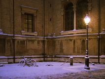 Street lamp 3. A street lamp corner under the snow.Parma,Italy stock photos