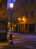 Street lamp 4. A street lamp corner under the snow.Parma,Italy stock photos