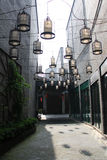 Street lamp in the alley. Beautiful birdcage shaped lamps are located in the peaceful alley. yangzhou. China stock image