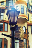 Street lamp on the background of the old house in Riga Stock Photography