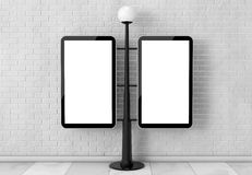 Street Lamp with Blank Banners. 3d Rendering. Street Lamp with Blank Banners in front of brick wall. 3d Rendering Royalty Free Stock Photography