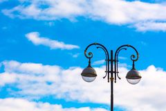 Street lamp on blue sky background Royalty Free Stock Photo
