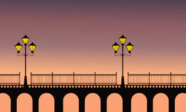 Street lamp on bridge at night scenery. Vector illustration stock illustration