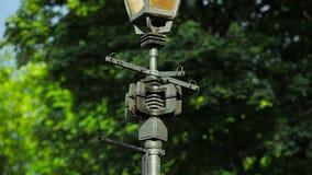 Street lamp Candelabrum post. Old lantern mechanism stock video footage
