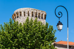 Street lamp and castle Stock Photos