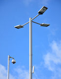 Street lamp and CCTV with big blue sky Royalty Free Stock Photos