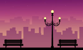 Street lamp with chair beauty scenery silhouettes. Vector art stock illustration