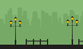 Street lamp with city background landscape silhouettes. Vector art stock illustration