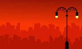 Street lamp with city silhouette landscape style. Vector art vector illustration