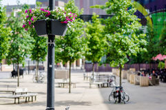 Street lamp decorated with fresh flowers Royalty Free Stock Photography