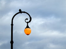 Street lamp at dusk. Pigeon sitting on the street lamp in the evening Stock Image