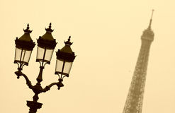 Street lamp and the Eiffel tower Royalty Free Stock Photo
