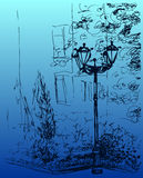 Street lamp with flower bed in city park. Vector illustration Stock Images