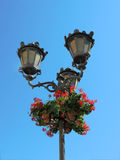 Street lamp and flowers Royalty Free Stock Photo