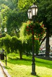 Street lamp with flowers in a public park. Vertical frame stock images