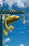 Street lamp golden fish beautiful on blue sky background. Street lamp golden fish beautiful  on blue sky background Stock Photo