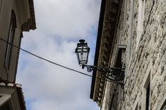 Street lamp in gothic style with sky royalty free stock photography