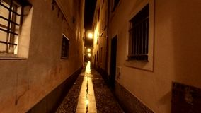 A medieval alley after the rain by night. Street lamp in the historical alley after the rain . Historical buildings stock video footage