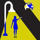 Street Lamp Lady. A glamorous woman stands under a street light and waves to a mysterious man in a car in a minimalist film noir style illustration royalty free illustration