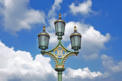 Street lamp. London. Street lamp on Westminster bridge on clouds background. London Royalty Free Stock Images