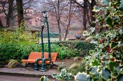 Street lamp in love in Valentino`s Park, Turin Italy Royalty Free Stock Photos