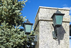 Street lamp on a marble pillar Royalty Free Stock Photography