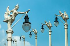 Street Lamp, Mythical Female Bird With A Human Head, Kinnaree And Blue Sky Royalty Free Stock Photos