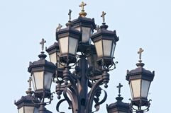 Street lamp near the church Stock Photos