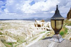 Street lamp at observation platform in Cappadocia stock images