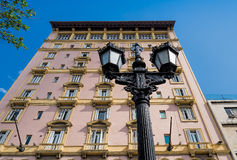 Street lamp and an old apartment building Stock Image