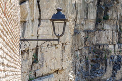 Street Lamp on the Old Brick Wall, Rock Background. Tbilisi. Stock Photography