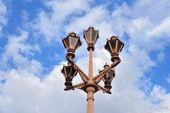 Street lamp in the old style. Street lamp in the old style on sky background in St.Petersburg, Russia Royalty Free Stock Photo