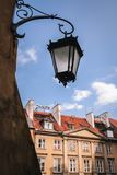 Warsaw Old Town. Street lamp on the Old Town of Warsaw city stock image