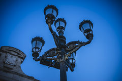 Street lamp, oldest street in the capital of Spain, the city of Stock Photos