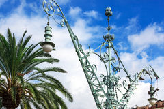 Street lamp and palm Royalty Free Stock Photos