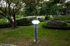 Street lamp at  park. Old fashioned street lamp in evening Royalty Free Stock Photos