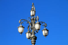 Street lamp on Piazza Unita d`Italia against blue sky, Trieste, Stock Photos
