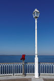 Street lamp  and  pier in arcachon Royalty Free Stock Photos