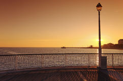 Street lamp  and  pier in arcachon Stock Photo