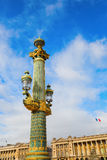 Street lamp on the Place de la Concorde in Paris Royalty Free Stock Photography