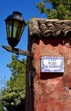 Street lamp and plate  in calle de los suspiros  uruguay Stock Image